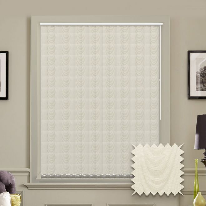 Made to measure vertical blind in Amsterdam Cream Fabric - Just Blinds